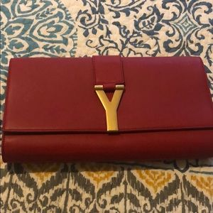 YSL RED LEATHER CLUTCH (authentic)